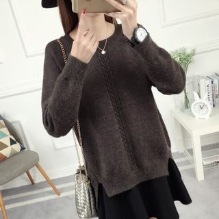 Image of Slit Plain Sweater