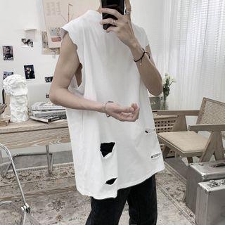 Image of Distressed Sleeveless T-Shirt
