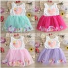 Kids Heart Applique Sleeveless Tulle Dress 1596