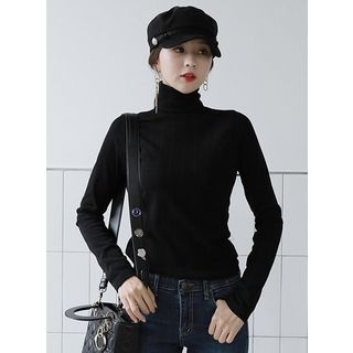 Turtle-Neck Ribbed Slim-Fit Top 1063767525