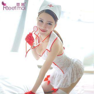 Costume | Nurse | White | Dress | Size | Hat | One