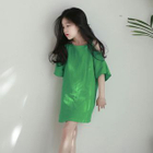 Kids Cutout Shoulder Short-Sleeve Dress 1596
