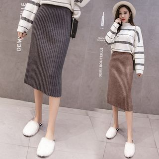 Image of Midi Rib Knit Pencil Skirt