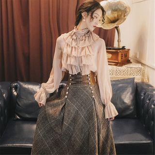 Image of Ruffle Blouse / High Waist Plaid Maxi A-Line Skirt / Set