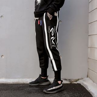 Image of Drawstring Waist Lettering Baggy Pants