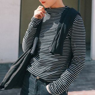 Stripe Mock-neck Long-Sleeve T-shirt 1058236631