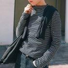 Stripe Mock-neck Long-Sleeve T-shirt 1596
