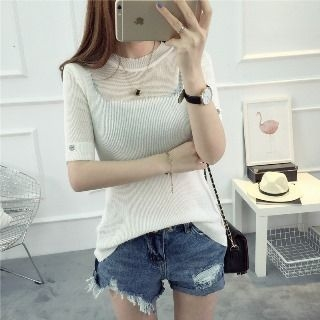 Short-Sleeve Rib Knit Top 1059466847