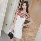 Set: Raw Hem Pinafore Dress + Striped Short Sleeve T-Shirt 1596