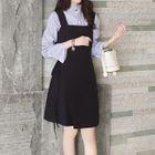 Set: Striped Shirt + A-Line Pinafore Dress 1596