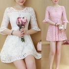 Bell-Sleeve A-Line Lace Dress 1596