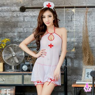 Costume | String | Nurse | White | Dress | Band | Hair | Size | Red | One | Set