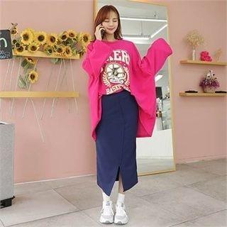 Band-Waist Cutout-Front Long Skirt 1064739470