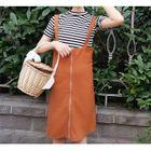 Set: Striped Short Sleeve T-Shirt + Plain Pinafore Dress 1596