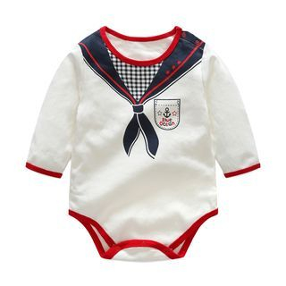 Baby Sailor Collar Long-Sleeve Bodysuit