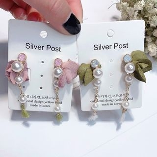 Floral Faux Pearl Drop Earring