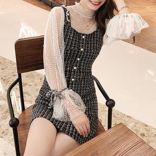 Sleeveless   Blouse   Sheer   Dress   Mini   Lace