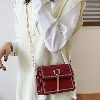 Image of Chain Strap Fringed Flap Crossbody Bag