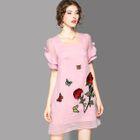 Short-Sleeve Embroidered Ruffled Dress 1596