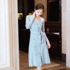 Double-Breasted Tie-Waist Knit Dress 1596