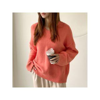 V-neck Loose-fit Sweater Orange - One Size