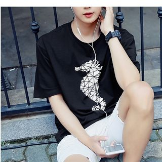 Image of Seahorse Print Short Sleeve T-Shirt