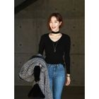 Cutout-Front Knit Top 1596