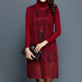 Set: Turtleneck Sweater + Sleeveless Lace Dress 1058408293