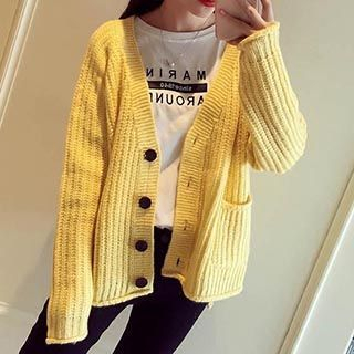 Plain Ribbed Cardigan 1051503750