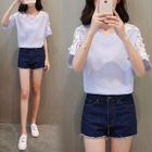 Short-Sleeve Lace Panel Top 1596