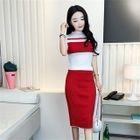 Set: Striped Knit Top + Pencil Skirt 1596