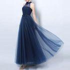 Halter Sheer Evening Gown 1596