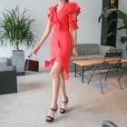 Short-Sleeve Ruffled Mini Sheath Dress 1596