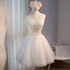 Flower Accent Sleeveless Bridesmaid Dress 1596