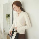 V-Neck Faux-Pearl Button Cardigan 1596