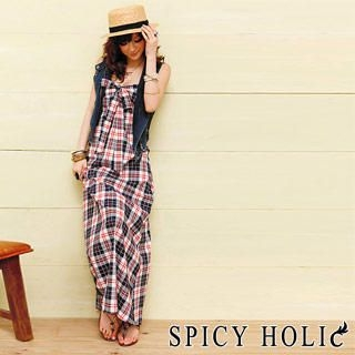 Buy SPICY HOLIC Bow-Front Plaid Maxi Dress 1022545937