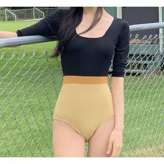 Image of 3/4-Sleeve Colored Panel Swimsuit