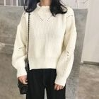 Perforated Mock Neck Sweater / Ribbed Knit Wide Leg Pants 1596