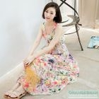 V-Neck Printed Chiffon Sleeveless Dress 1596