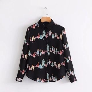 Single-Breasted Long-Sleeved Cartoon Print Blouse 1064367292