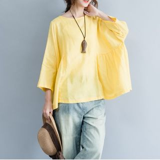 Image of Plain 3/4-Sleeve T-Shirt Yellow - One Size