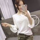 Bell-Sleeve Cutout T-Shirt 1596