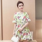 Maternity Short-Sleeve Floral Pleated Dress 1596