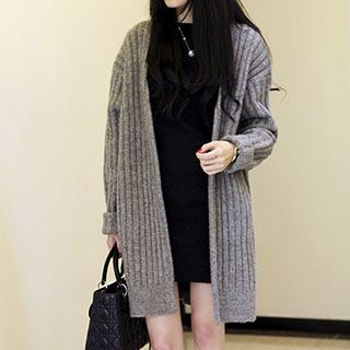 Plain Long Ribbed Cardigan 1045529172