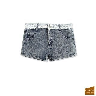 Lace Trim Denim Shorts 1048938028