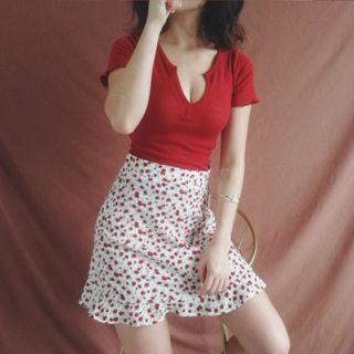 Image of Dotted / Floral A-Line Skirt