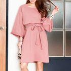 Tie-Waist A-Line Dress Pink - One Size 1596