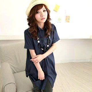 Buy ZOO Set: Pintucked Long Shirt + Necklace 1022475675