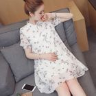 Maternity Floral Print Elbow Sleeve Chiffon Dress 1596