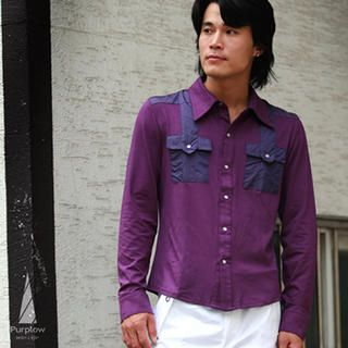 Buy Purplow Shoulder Patched Shirt in Purple 1004594773